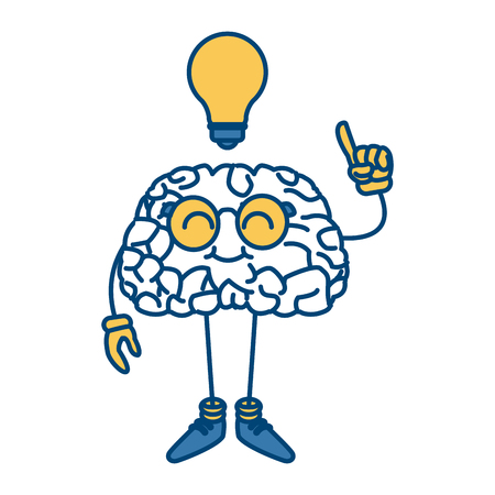 Nerd brain with idea cartoon icon vector illustration graphic design Çizim