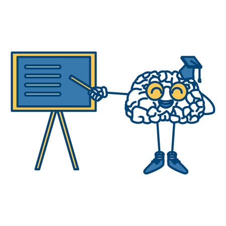 Cute brain teaching cartoon icon vector illustration graphic design Illustration