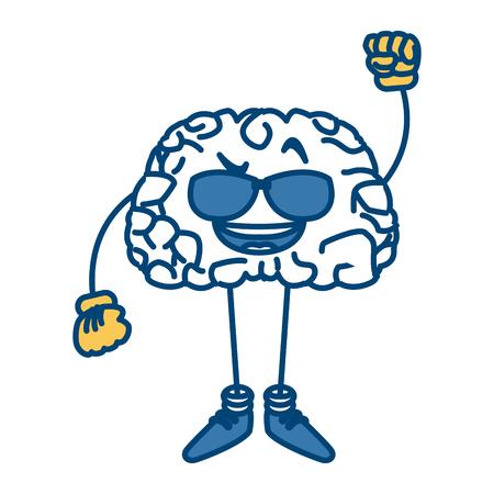 Cute brain with sunglasses cartoon icon vector illustration graphic design Illustration