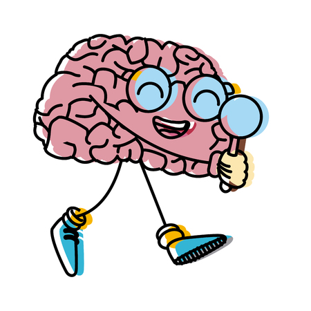 Cute brain searching something icon vector illustration graphic design Illustration