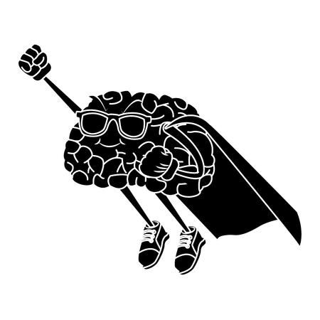 Super hero brain cartoon icon vector illustration graphic design Illusztráció