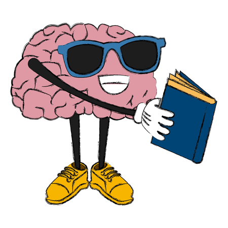 Cute brain reading cartoon icon vector illustration graphic design