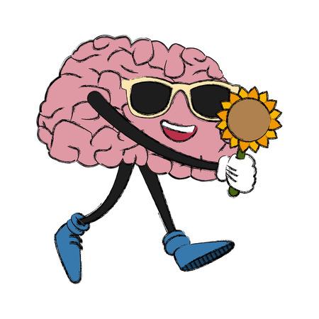 Cute brain with sunflower cartoon icon vector illustration graphic design Illustration