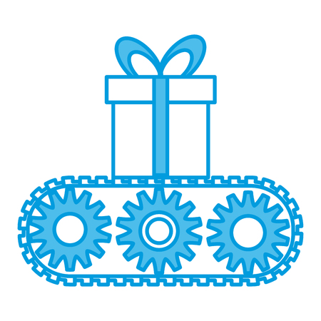 Gift box in conveyor icon vector illustration graphic design