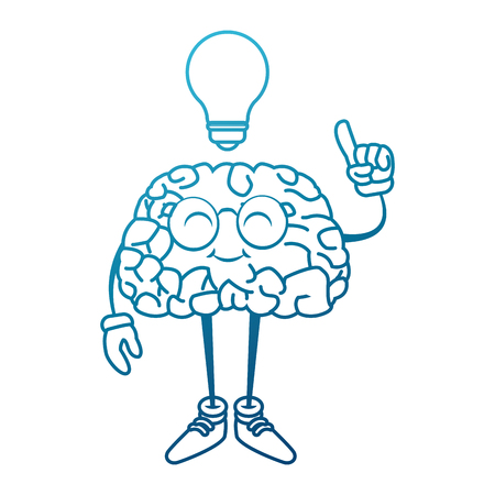 Nerd brain with idea cartoon icon vector illustration graphic design Illustration