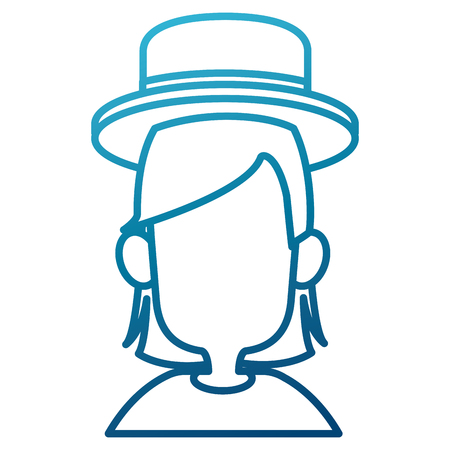 Woman with hat icon vector illustration graphic design