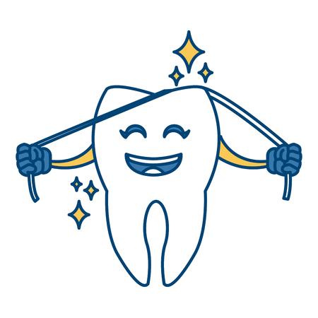 hospital patient: Cute tooth cartoon icon vector illustration graphic design