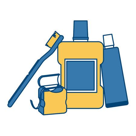examine: Dental hygiene products icon vector illustration graphic design Illustration