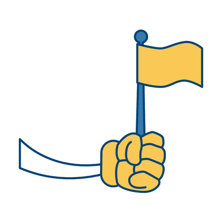 Glove hand with flag icon vector illustration graphic design
