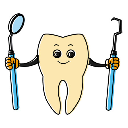 Tooth with dental tools cartoon icon vector illustration graphic design