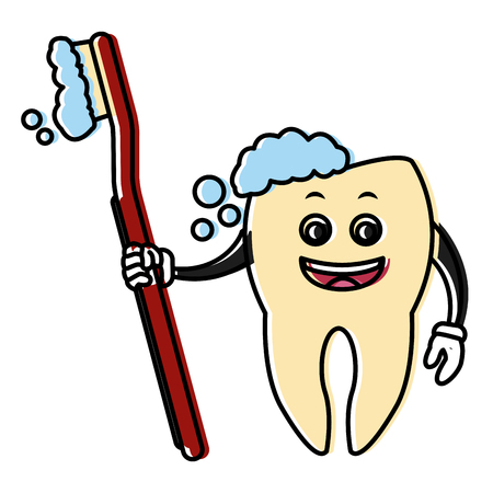 orthodontist: Tooth holding a brush icon. Illustration