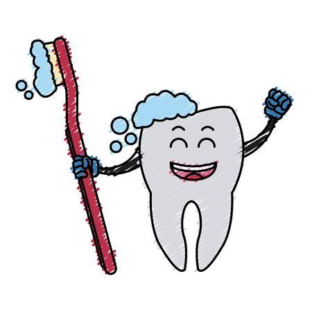 Tooth with brush cartoon icon vector illustration graphic design