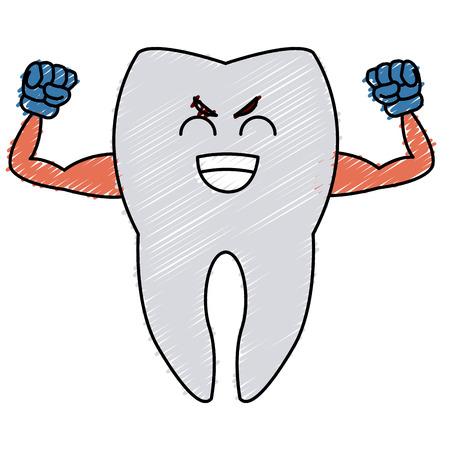 orthodontist: Cute tooth cartoon icon vector illustration graphic design