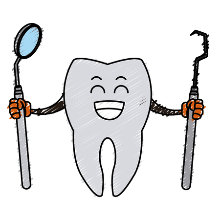 Tooth with dental tools icon.