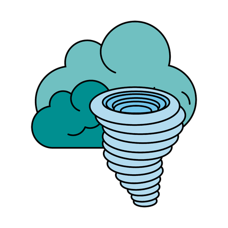 Tornado with clouds icon.