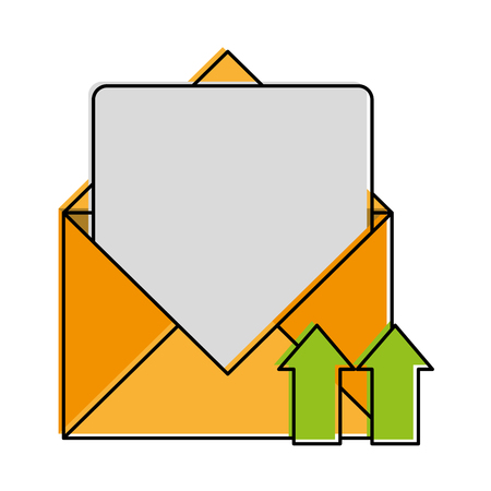 open message envelope with with up arrows icon image vector illustration design