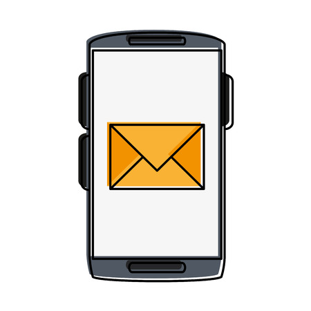 smartphone icon: smartphone with message envelope on screen icon image vector illustration design