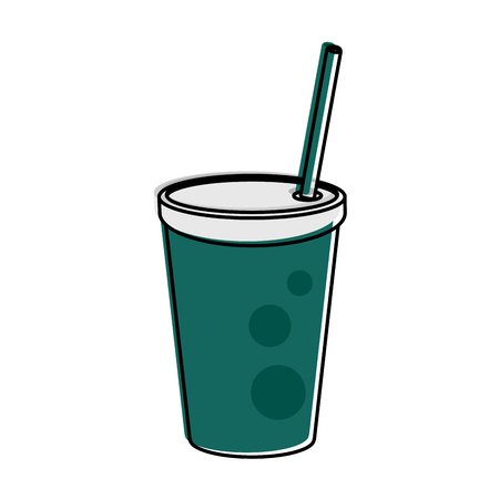 drink ing cup with straw icon image vector illustration design