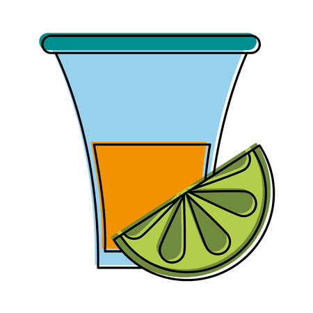 tequila shot with lime mexican culture related icon image vector illustration design