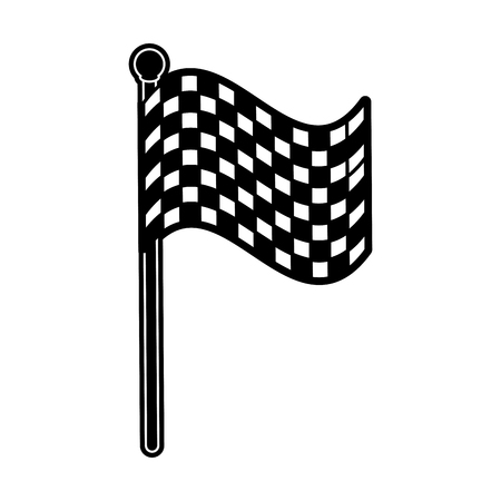 racetrack: checkered flag car racing related icon image vector illustration design  black and white