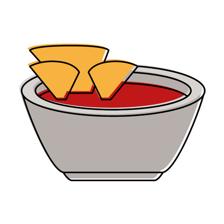 tortilla chips with salsa icon image vector illustration design