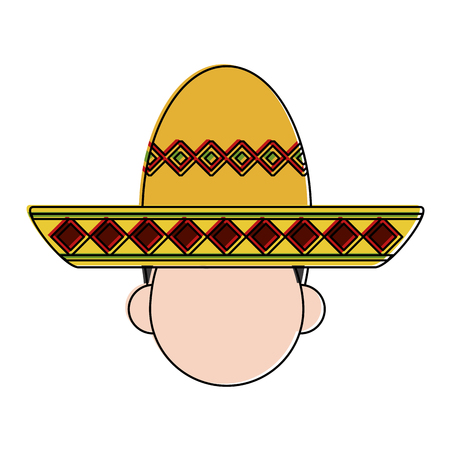 folk hat mexican culture related icon image vector illustration design Illustration