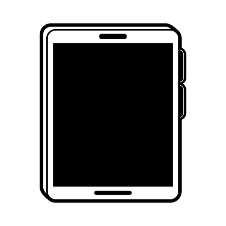tablet with blank screen icon image vector illustration design  black and white