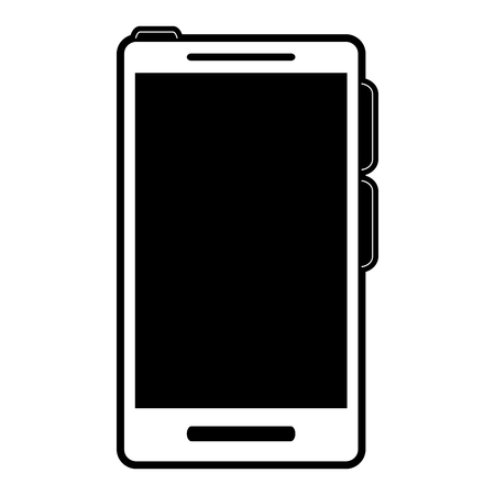 smartphone icon: smartphone with blank screen icon image vector illustration design  black and white