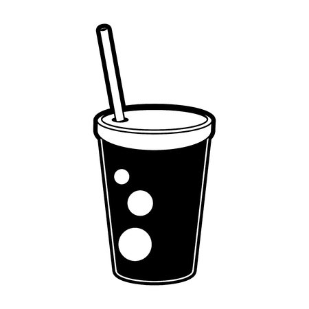 drink ing cup with straw icon image vector illustration design  black and white