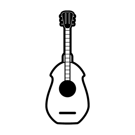 guitar mexican culture related icon image vector illustration design  black and white