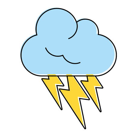 thunderbolts and cloud weather icon image vector illustration design Illustration