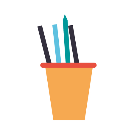 workforce: cup with pens office supplies icon image vector illustration design