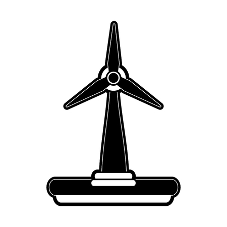 wind mills: wind turbine icon image vector illustration design  black and white