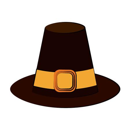 pilgrim hat thanksgiving related icon image vector illustration design Illustration