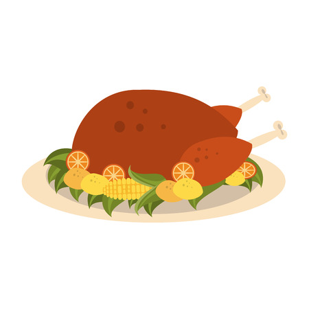 turkey on plate thanksgiving related icon image vector illustration design