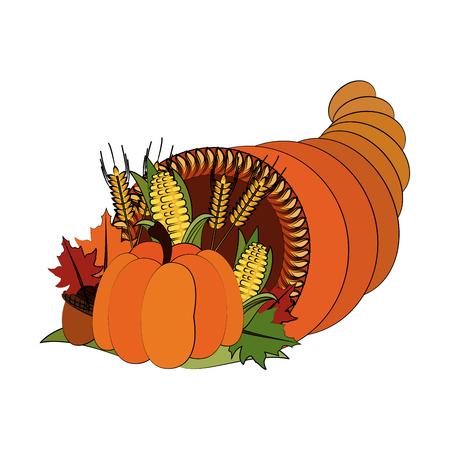 pumpkin corn wheat leaves fall decoration thanksgiving related icon image vector illustration design Illustration