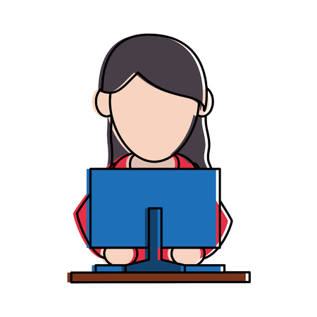 woman using computer icon image frontview vector illustration design