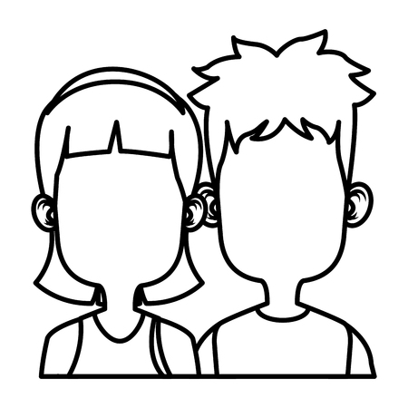 Cute kids friends cartoon icon vector illustration graphic design
