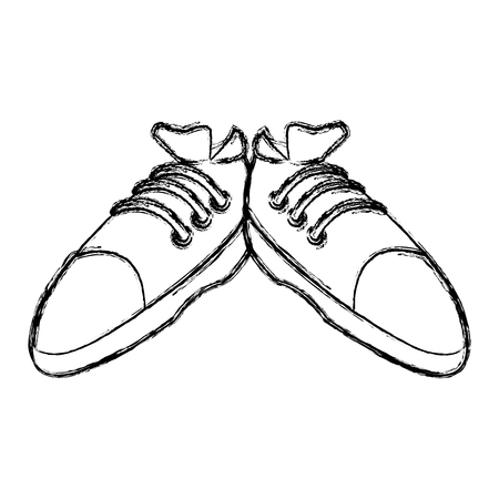Sport sneakers isolated icon vector illustration graphic design Çizim