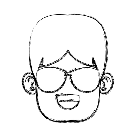 Boy with sunglasses cartoon icon vector illustration graphic design Illustration