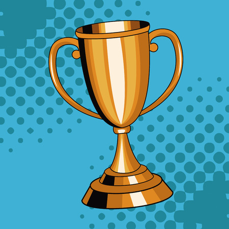 Trophy cup pop art cartoon vector illustration graphic