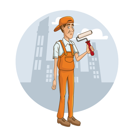 Worker with tool on cityscape cartoon icon vector illustration graphic design Illustration