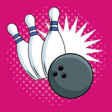 Bowling pop art cartoon vector illustration graphic Illustration