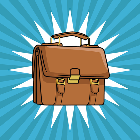 Briefcase pop art cartoon vector illustration graphic