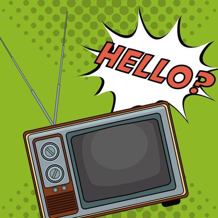 Old tv pop art cartoon vector illustration graphic