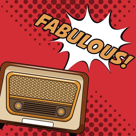 Old radio pop art cartoon vector illustration graphic