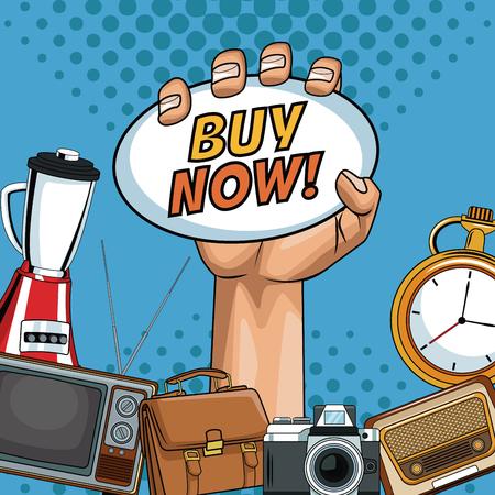 Buy now pop art cartoon vector illustration graphic