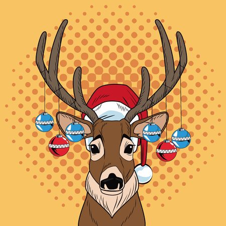 Reindeer with balls Christmas pop art vector illustration graphic