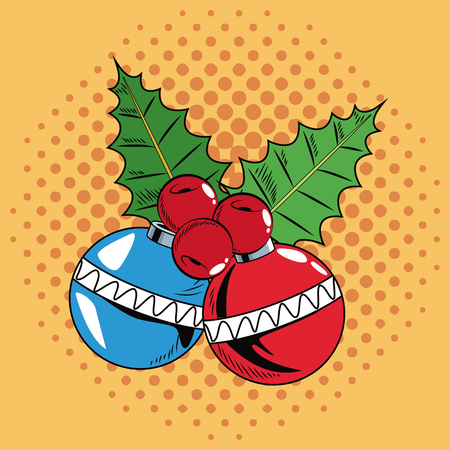 Decorative balls Christmas pop art vector illustration graphic