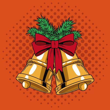 Bells with ribbon Christmas pop art vector illustration graphic Illustration